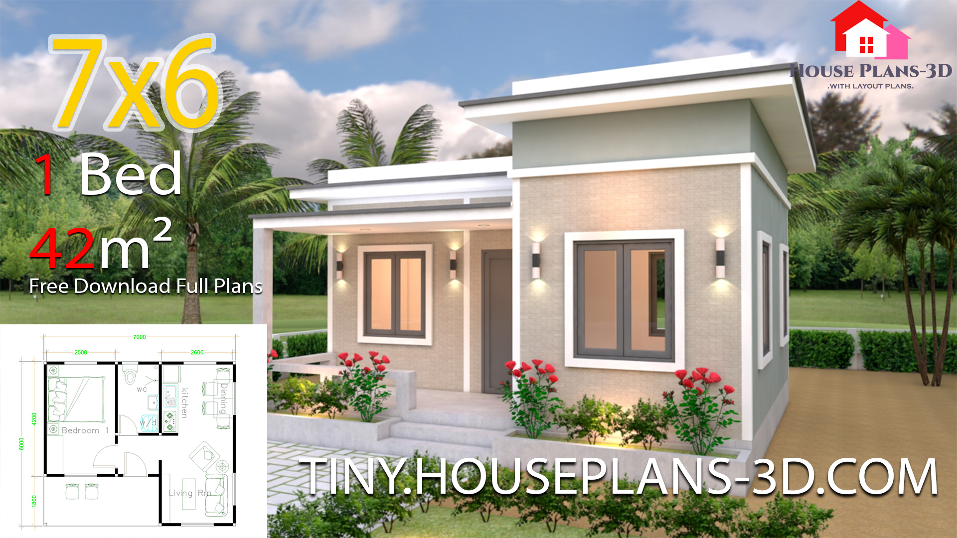 Tiny House Plans 7x6 With One Bedroom Flat Roof Tiny House Plans