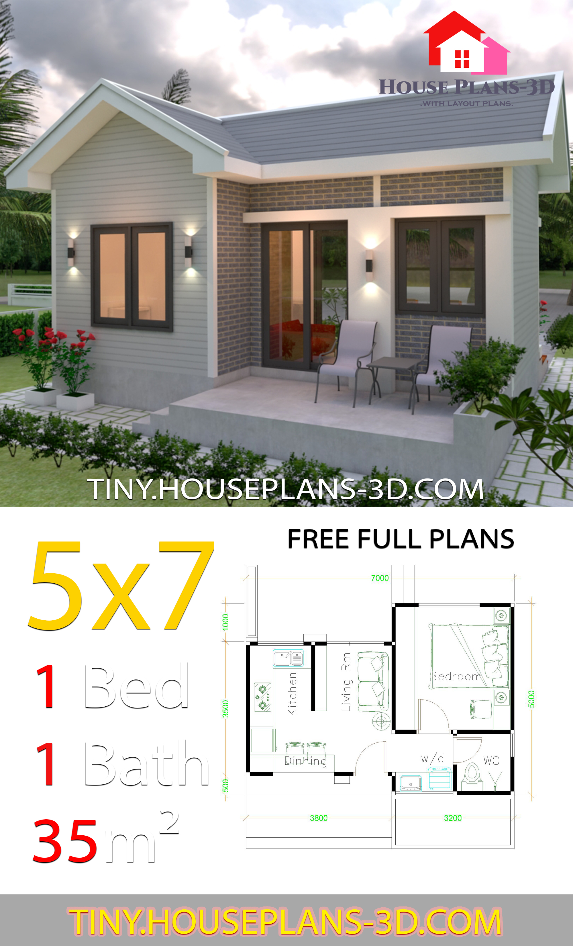 Small House Design Plans 5x7 with One Bedroom Gable Roof v5 - Get Small 1 Bedroom House Plan Design PNG