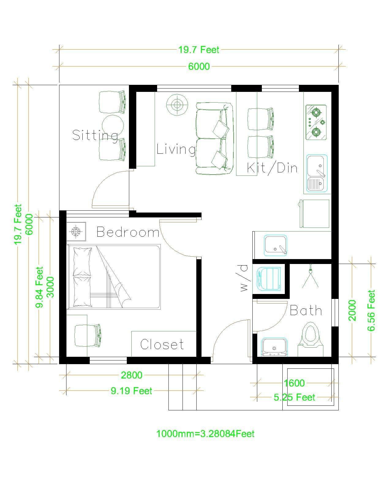 Small House Plans 6x6 with One Bedroom Hip Roof - House ...