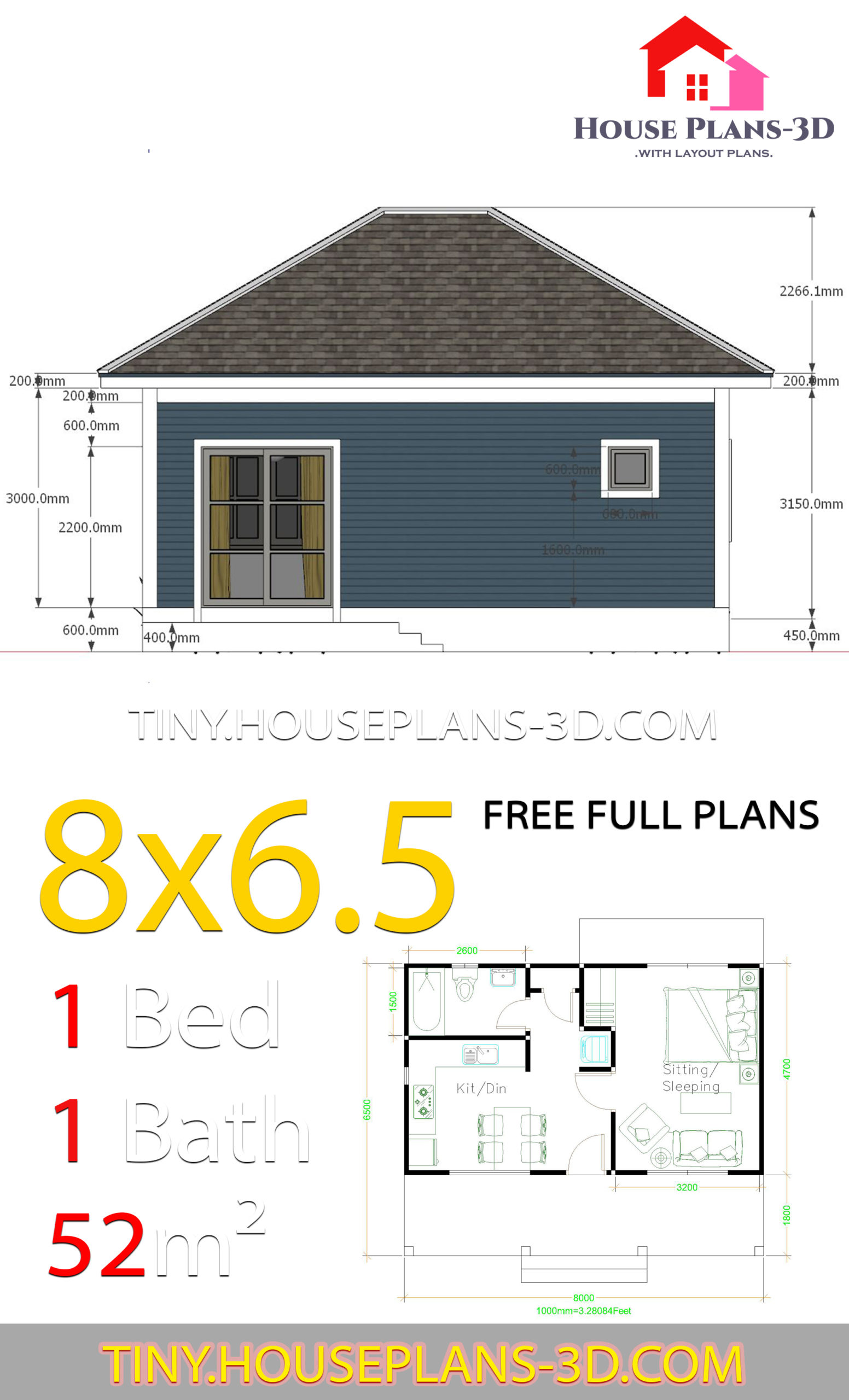 Small House Plans 8x6.5 with One Bedrooms Hip roof - House ...